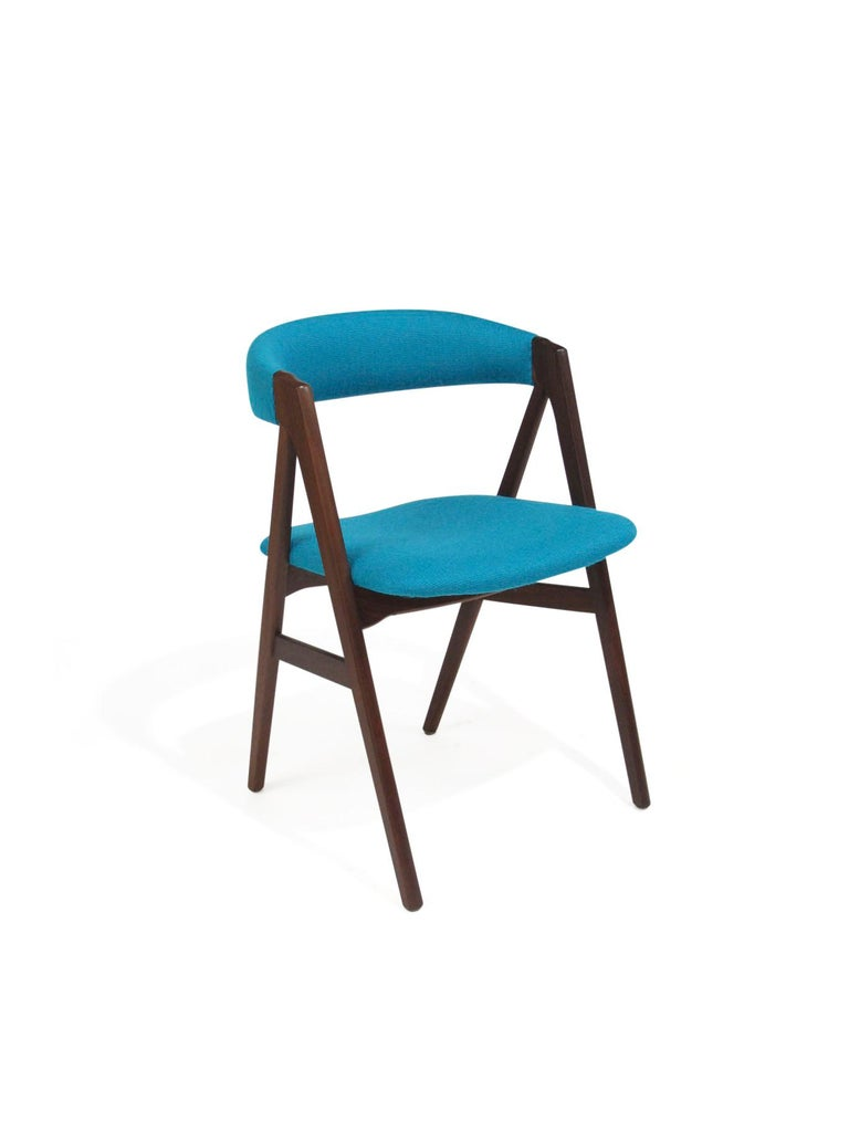 Teak A-Frame Danish Dining Chairs in Turquoise Wool For Sale