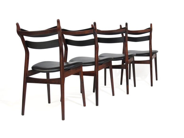 Leather Heldge Sibast Rosewood Dining Room Chairs For Sale