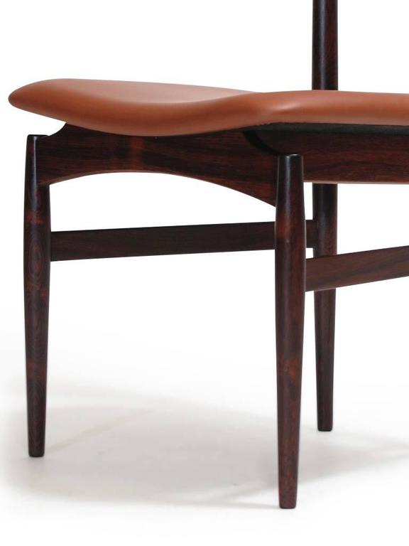 Scandinavian Modern Poul Hundevad Sculpted Rosewood Dining Chairs For Sale