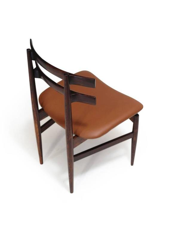 Leather Poul Hundevad Sculpted Rosewood Dining Chairs For Sale