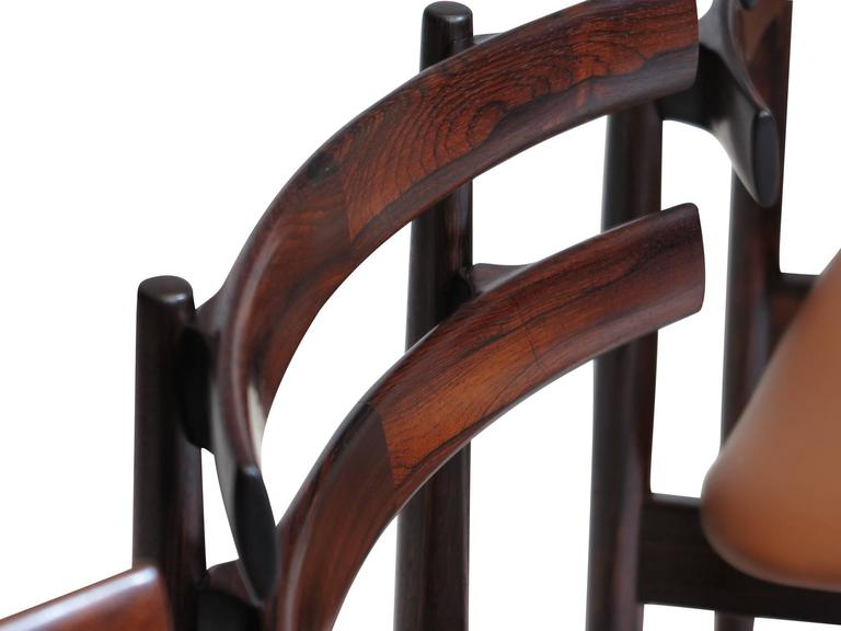 Poul Hundevad Sculpted Rosewood Dining Chairs In Excellent Condition For Sale In Berkeley, CA