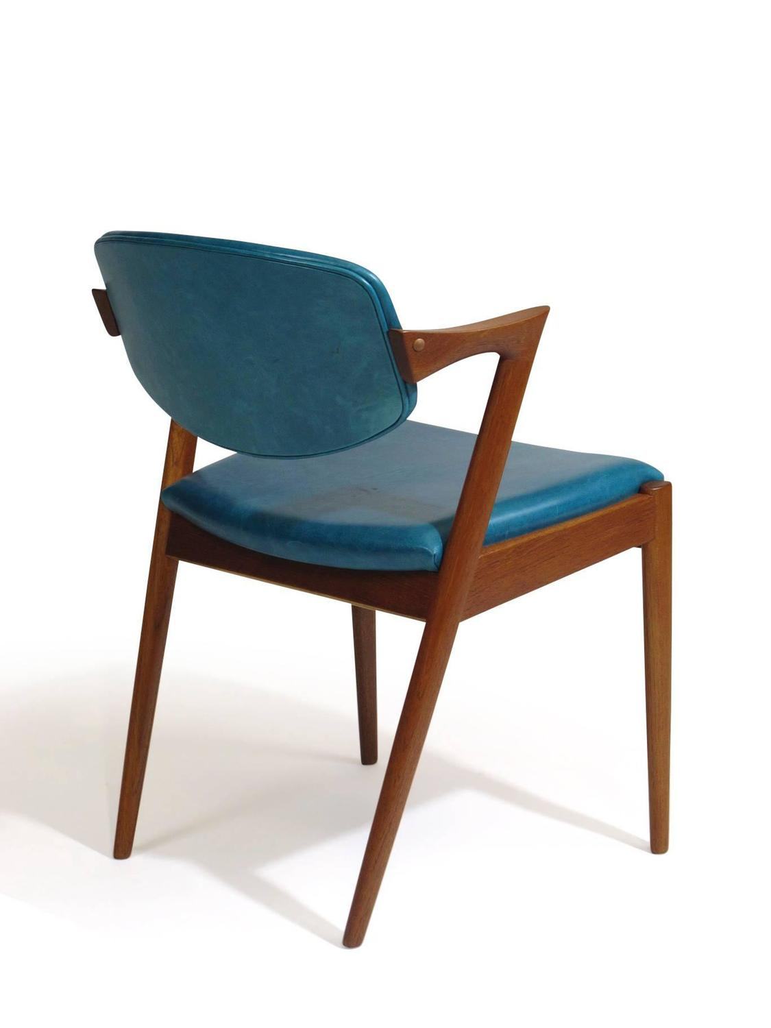 Six kai kristiansen teak danish dining chairs in turquoise leather 20 available for sale at 1stdibs - Turquoise upholstered dining chair ...