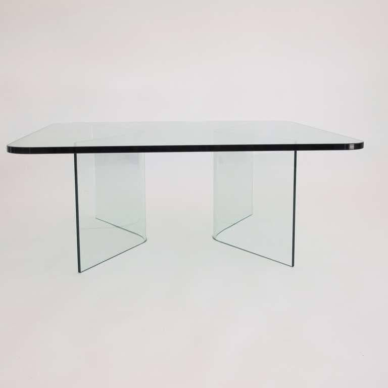 Curved Edge Glass Coffee Table: 1970s, Italian Midcentury All Glass Square Coffee Table