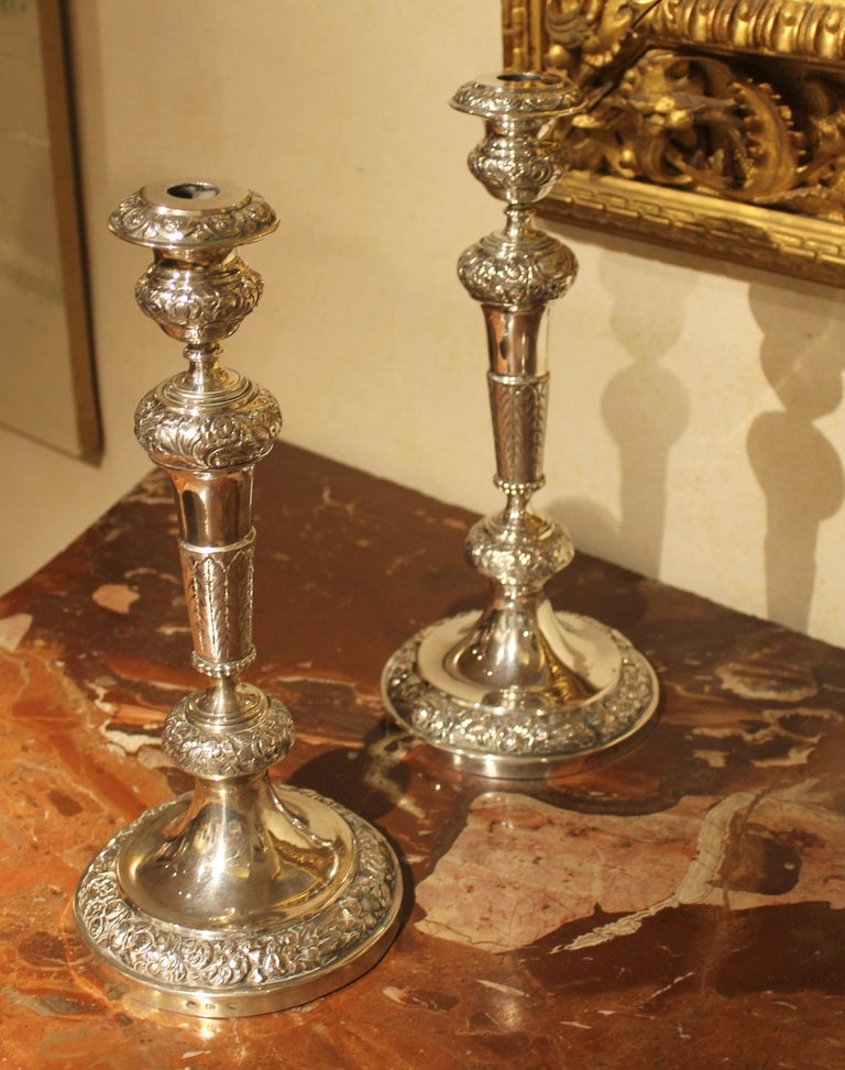 Pair of 19th Century Italian Silver Candlesticks Chiseled with Floral Patterns For Sale 8