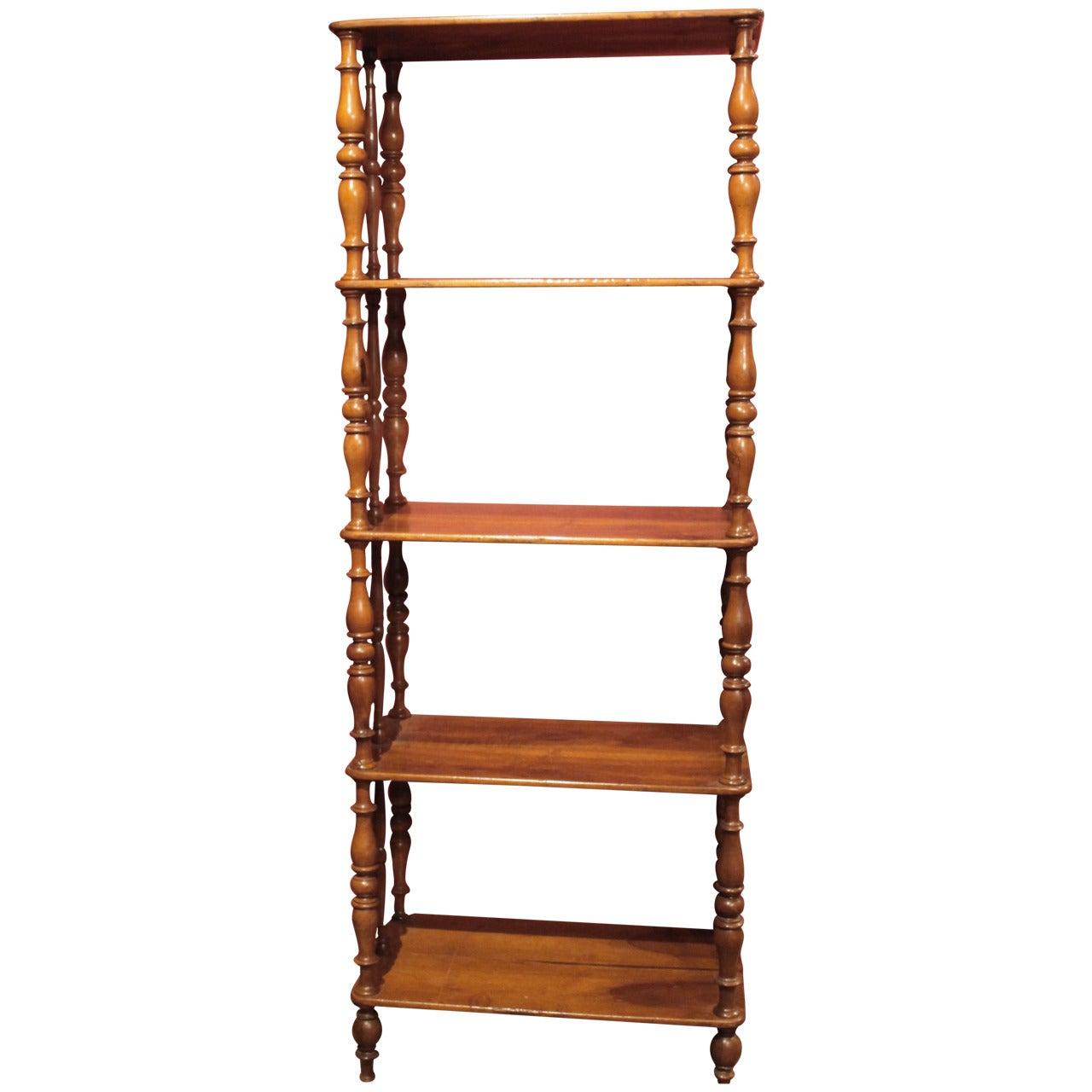 Italian 19th Century Regency Style Rustic Walnut Wood Open Shelves Bookcase