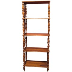 Italian 19th Century Regency Style Rustic Walnut Wood Open Shelves Bookcase