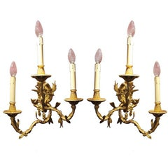 Pair of French 19th Century Gilt Bronze Three Lights Faux Bamboo Foliate Sconces