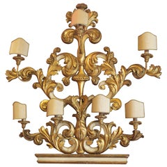 Italian 19th Century Carved White Lacquer and Gilt Wood Eight-Light Sconce