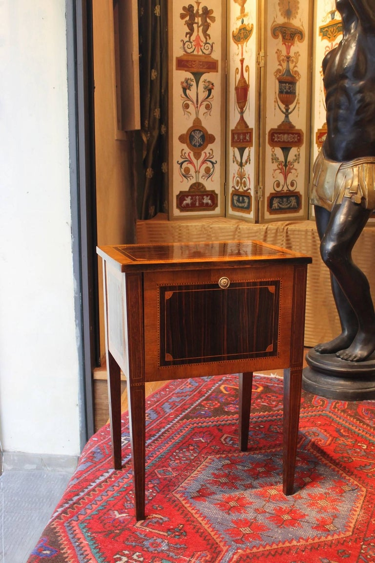 Louis Xvi Mahogany And Walnut Wood Veneer Narrow Night