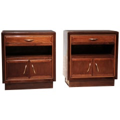 Pair of Italian Art Deco Walnut Wood Nightstand Cabinets with Brass Handles