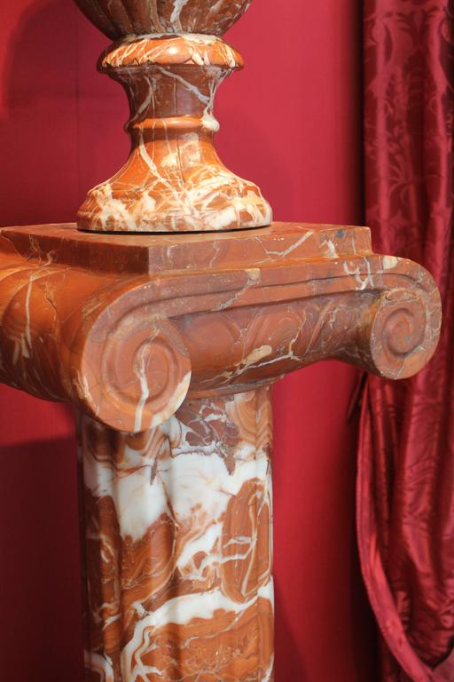 Pair of French 19th Century Red Marble Columns with Vases in Neoclassic Style For Sale 5