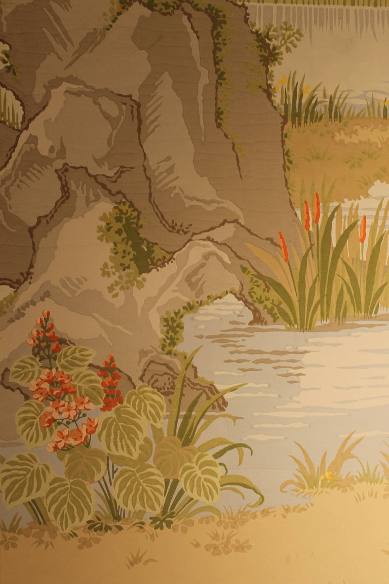 A three panels wallpaper depicting a japanese scene by for Wallpaper sheets for sale