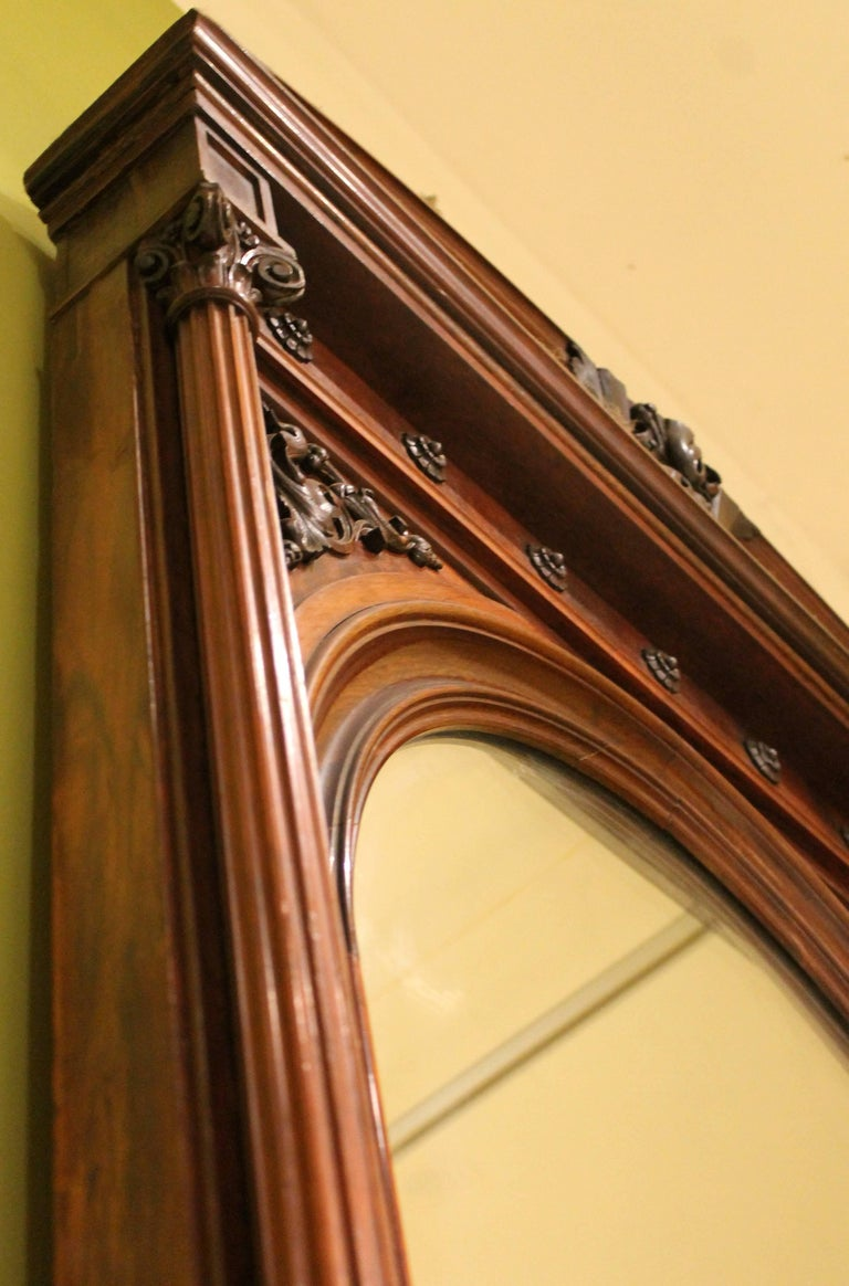 Neoclassical 19th Century English Greek Revival Hand-Carved Rosewood Full Length Floor Mirror For Sale