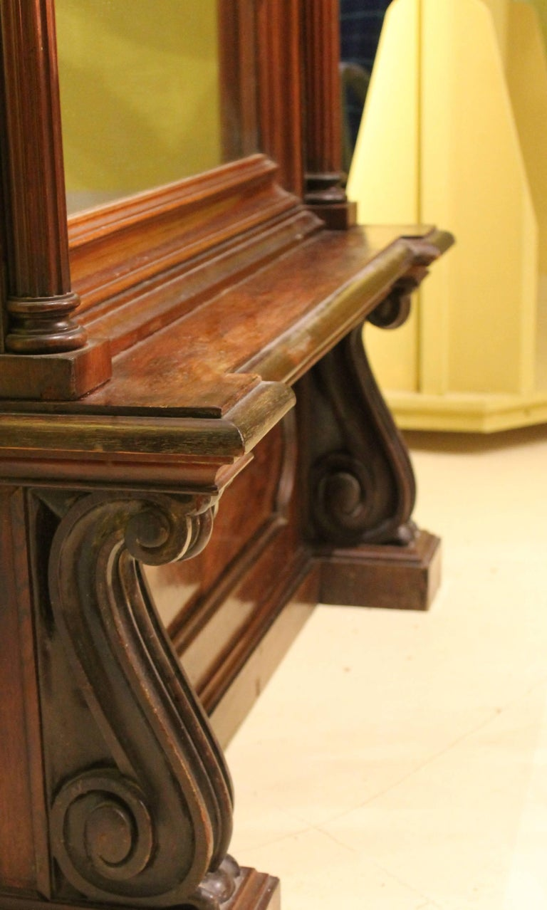 19th Century English Greek Revival Hand-Carved Rosewood Full Length Floor Mirror For Sale 2