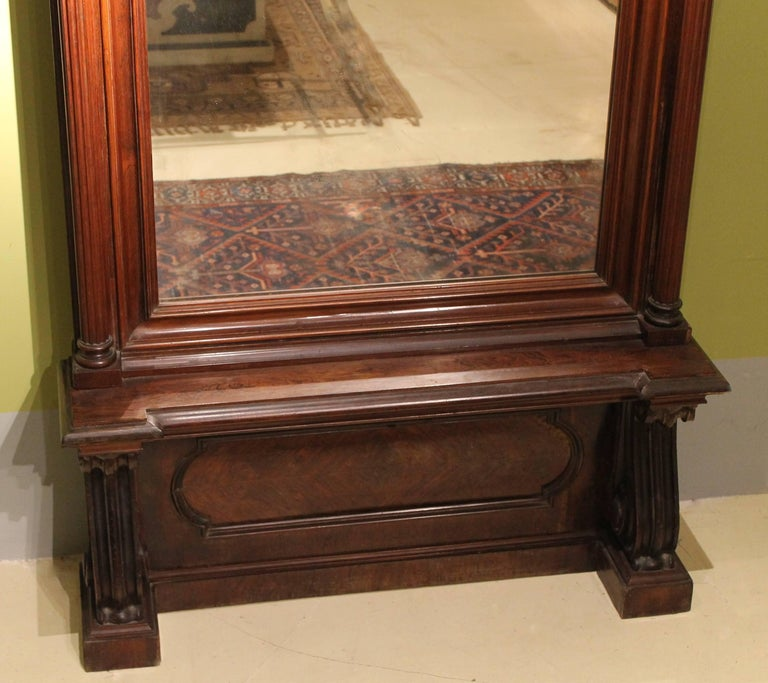 19th Century English Greek Revival Hand-Carved Rosewood Full Length Floor Mirror For Sale 3