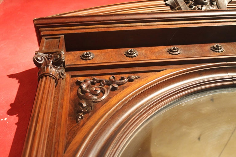 19th Century English Greek Revival Hand-Carved Rosewood Full Length Floor Mirror For Sale 4