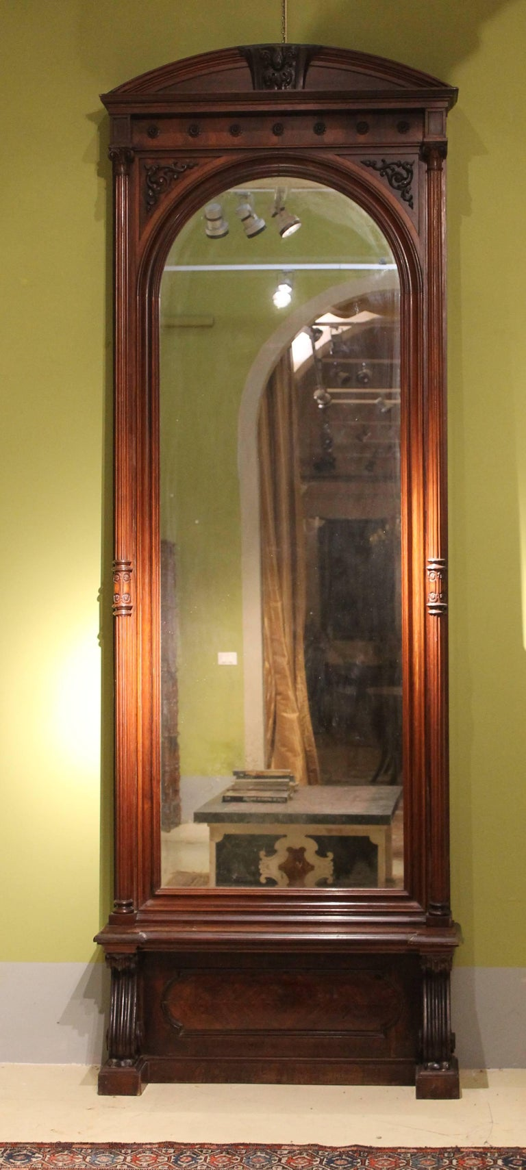 19th Century English Greek Revival Hand-Carved Rosewood Full Length Floor Mirror For Sale 6