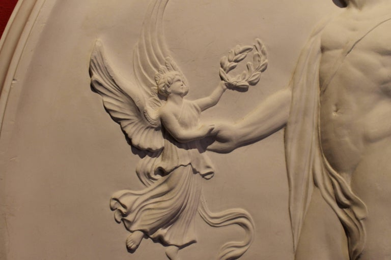 Italian Neoclassical Revival Oval White Plaster Wall Sculpture ...