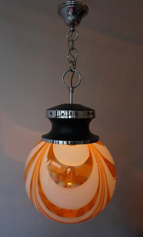 Italian orange and white Murano glass pendant light.