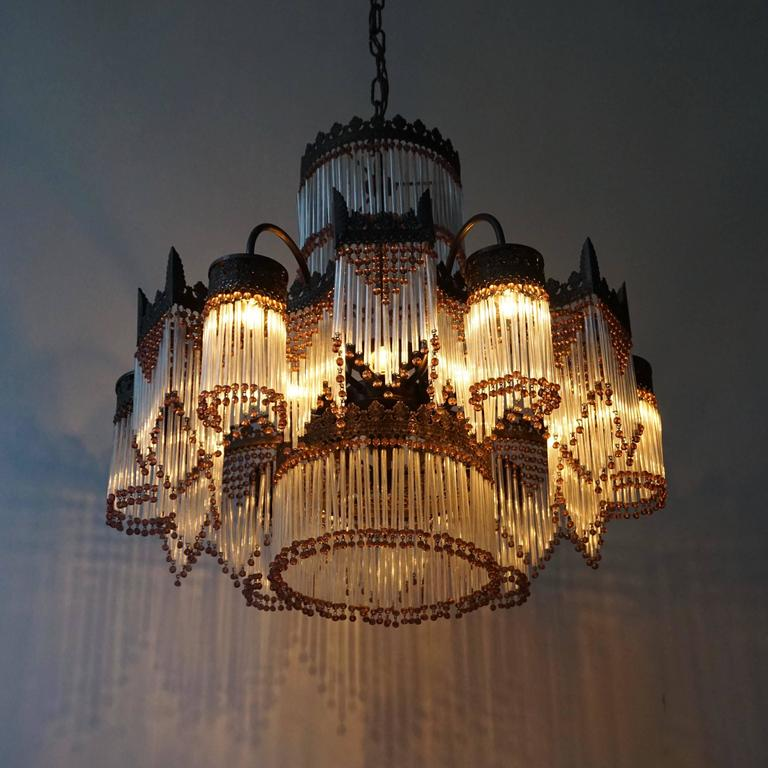 Metal Italian Murano Glass Chandelier For Sale