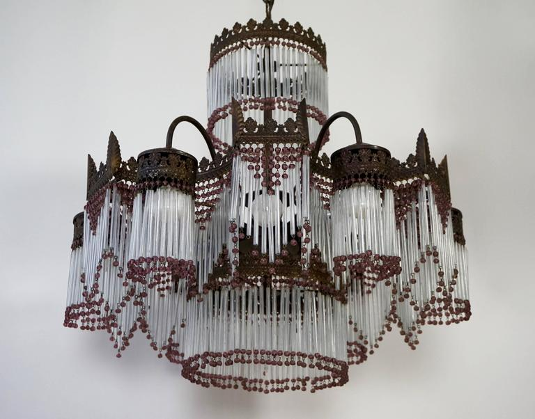 Hollywood Regency Italian Murano Glass Chandelier For Sale