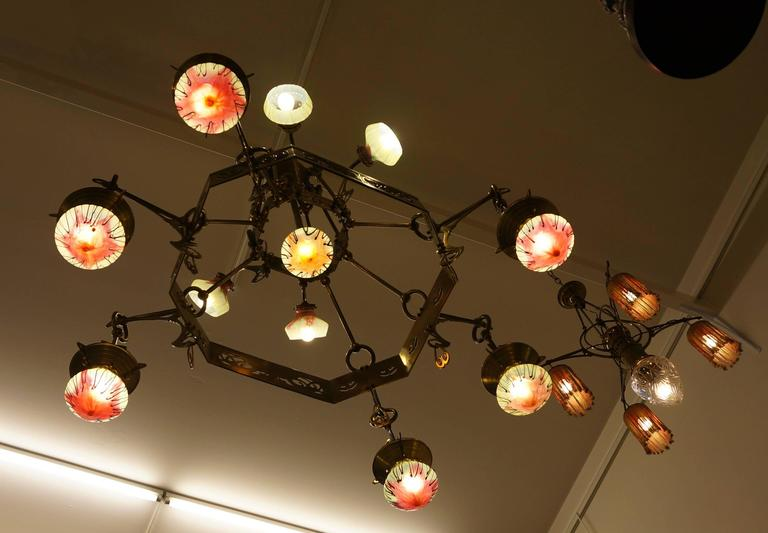 Rare Huge Art Nouveau Chandelier With Elisabeth-Hutte Glass In Excellent Condition For Sale In Antwerp, BE