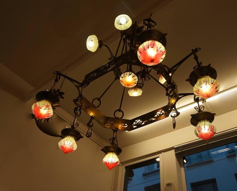 Rare Huge Art Nouveau Chandelier With Elisabeth-Hutte Glass For Sale 3