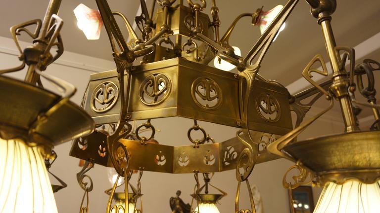 Rare Huge Art Nouveau Chandelier With Elisabeth-Hutte Glass For Sale 4