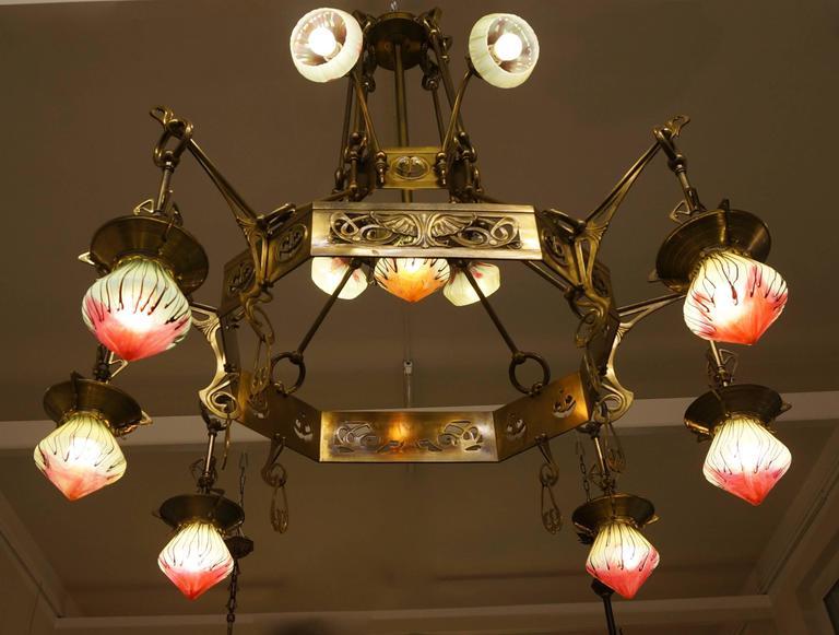 Austrian Rare Huge Art Nouveau Chandelier with Elisabeth-Hutte Glass For Sale