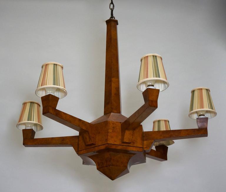 Veneer Art Deco Walnut Chandelier  For Sale