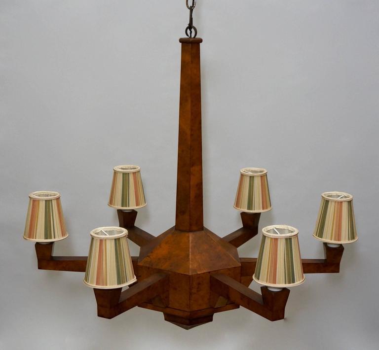 Art Deco Walnut Chandelier  In Good Condition For Sale In Antwerp, BE