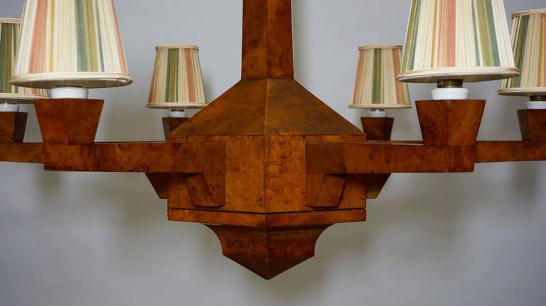 20th Century Art Deco Walnut Chandelier  For Sale