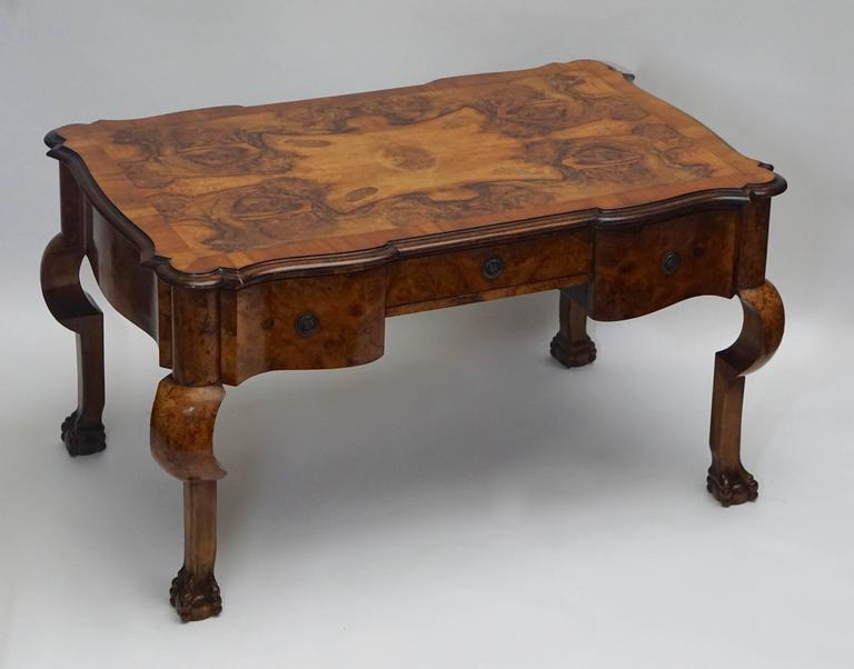 19th century French burled walnut partners desk with original armchair.