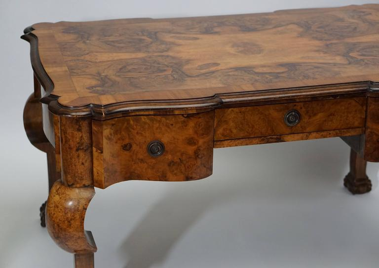 19th Century French Burled Walnut Partners Desk with Armchair For Sale 3
