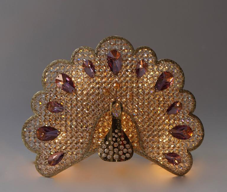 Italian Set of Two Peacock Wall Lights or Sconces For Sale