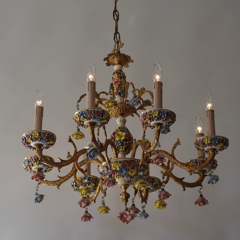 Italian Porcelain Flower Gilt Iron Chandelier For Sale at