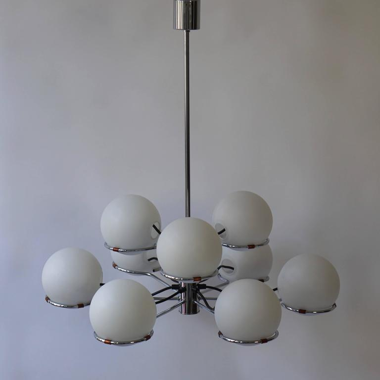 Italian Murano Chandelier with Nine Glass Globes For Sale