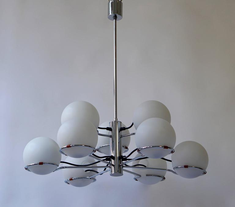 Mid-Century Modern Murano Chandelier with Nine Glass Globes For Sale