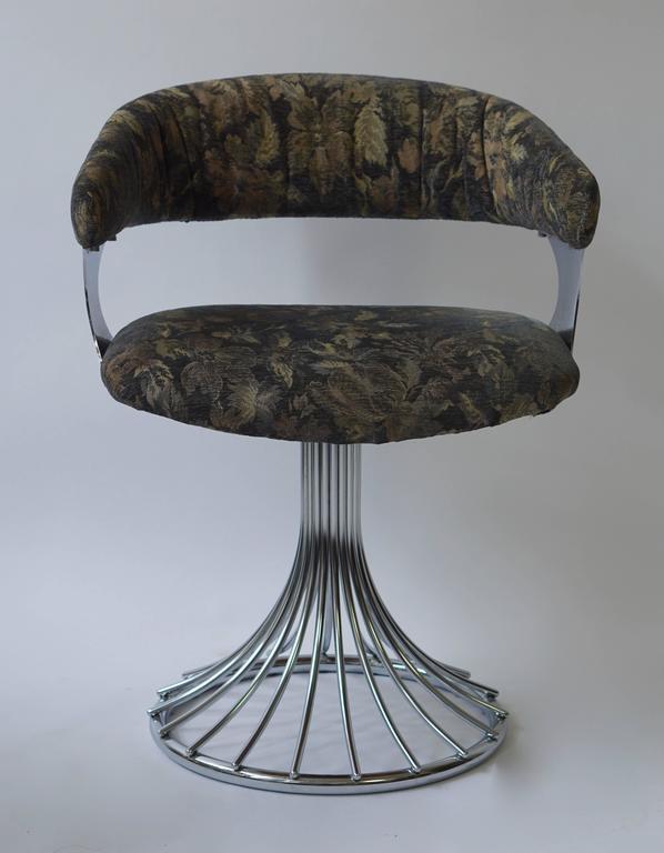 Italian Set off Six Vintage Chrome Swivel Chairs For Sale