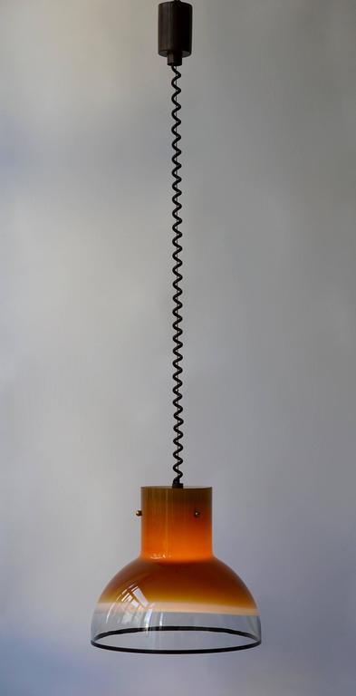 Eight Adjustable Italian Murano Glass Ceiling Lights For Sale 2