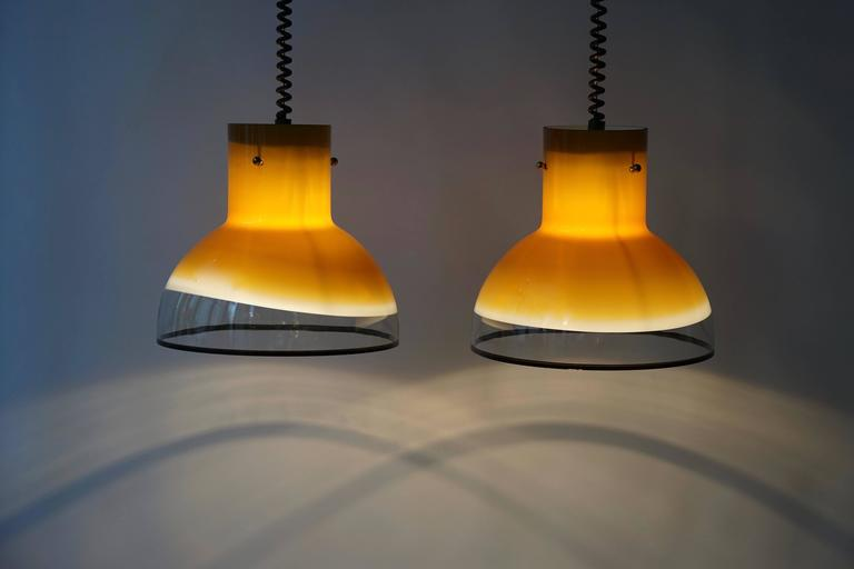 Mid-Century Modern Eight Adjustable Italian Murano Glass Ceiling Lights For Sale