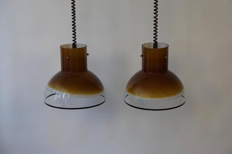 Brass Eight Adjustable Italian Murano Glass Ceiling Lights For Sale