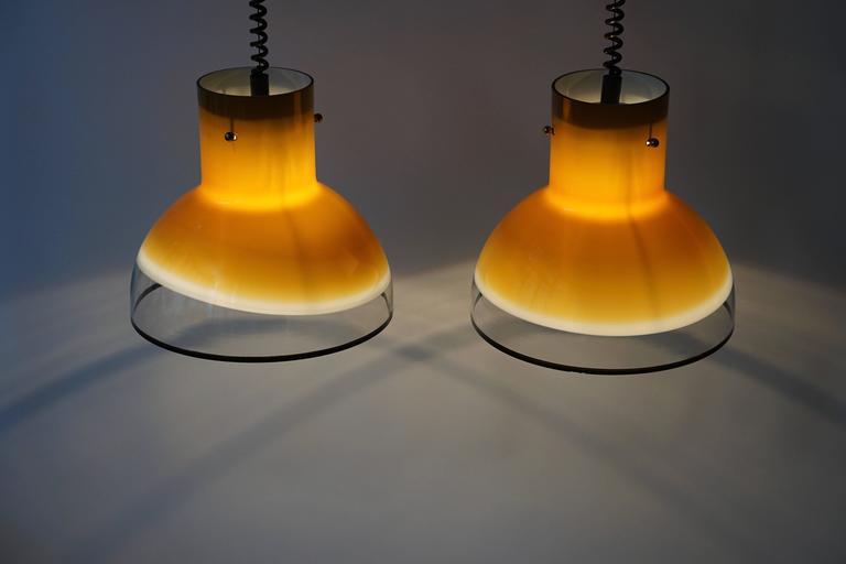 20th Century Eight Adjustable Italian Murano Glass Ceiling Lights For Sale