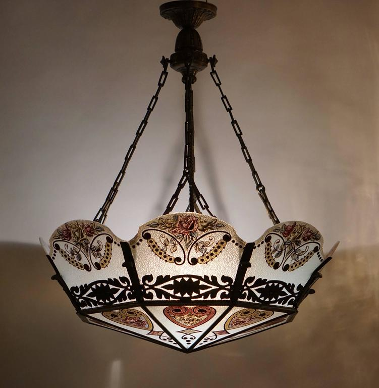 Stained Glass Chandelier For Sale at 1stdibs