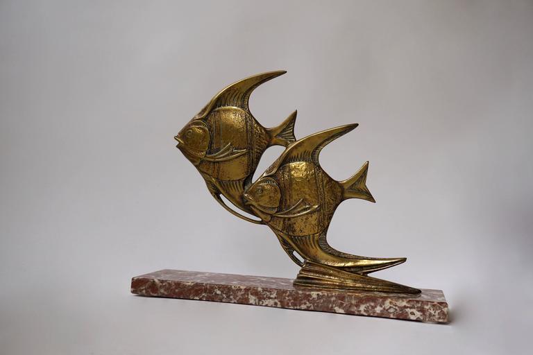 Mid-Century Modern Brass Fish Sculpture For Sale