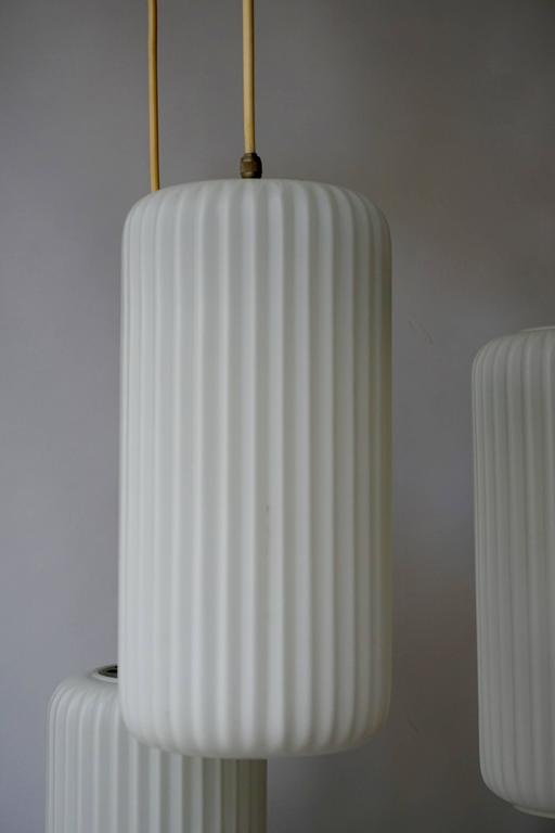 Mid-Century Modern 1950s Opaline Glass Pendant Light  For Sale