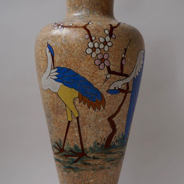 Hand-painted modernist vase, signed by the Belgian artist A. Dubois. Height:53 cm. Diameter:20 cm.