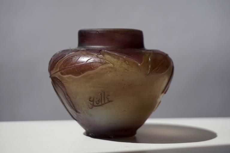 19th Century Emile Gallé French Art Nouveau Cameo Glass Vase For Sale