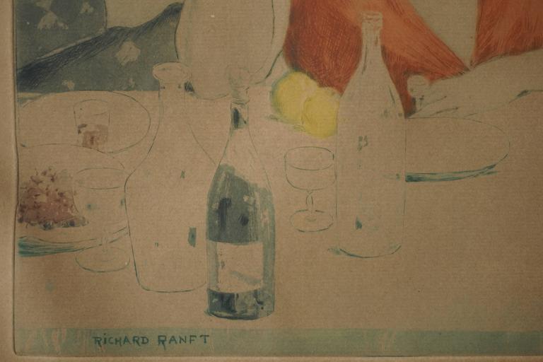 Art Deco Painting by Richard Ranft, Jeune Femme Et Costumes Des Pierrots For Sale