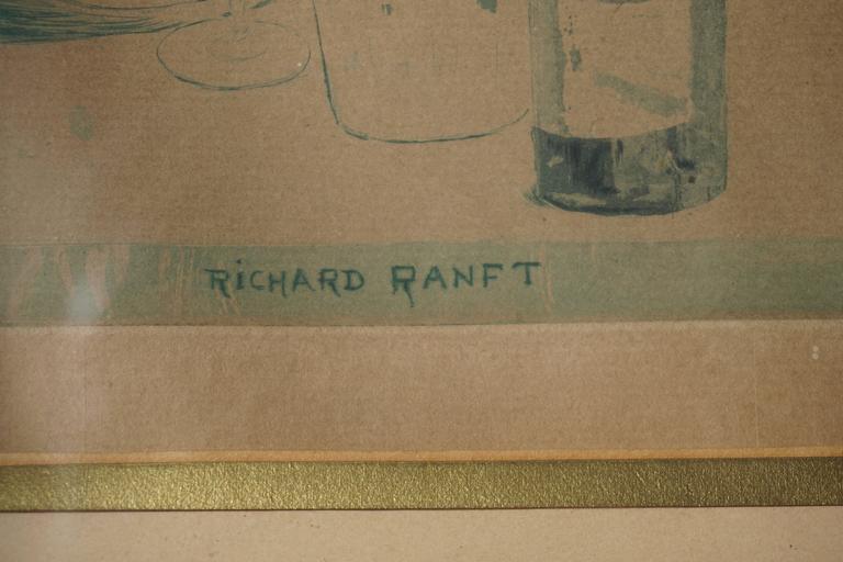 Glass Painting by Richard Ranft, Jeune Femme Et Costumes Des Pierrots For Sale